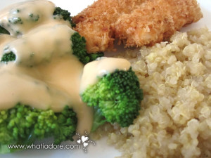 Panko Breaded Basa, Cheesey Broccoli and Quinoa