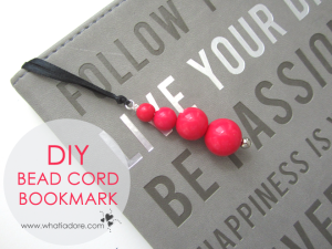 DIY Cord Bookmark with ribbon and beads